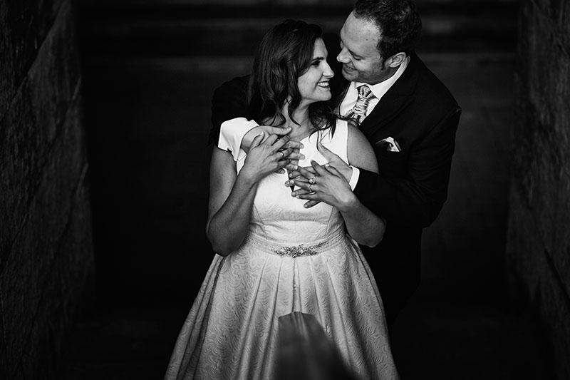 postboda romantica en Blanco y negro