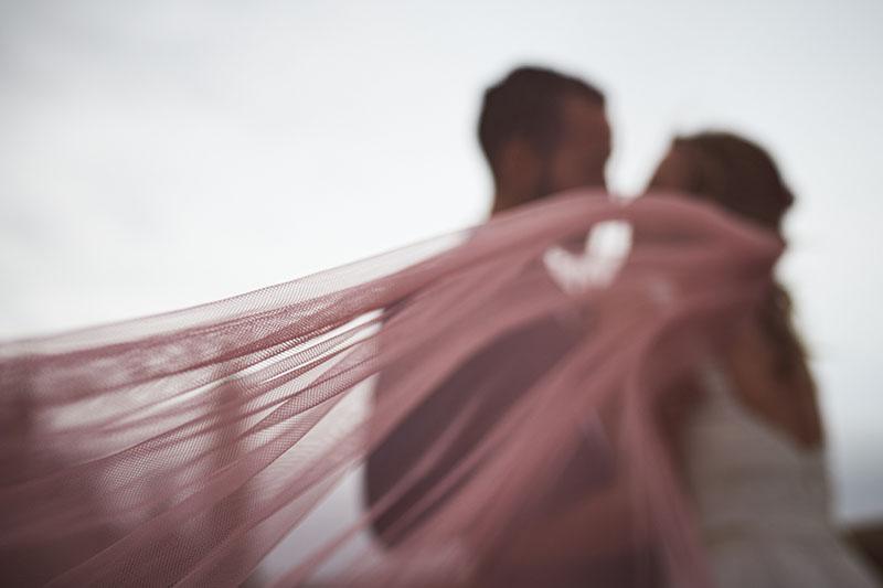 velo rosa boda